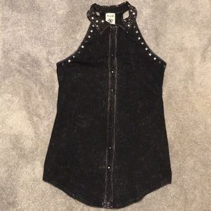 Vocal collared button down halter top